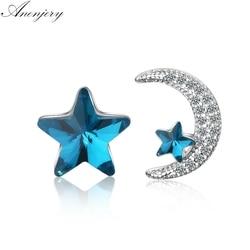 Anenjery 2019, милые асимметричные серьги с голубыми звездами и луной, 925 пробы, серебряные серьги с цирконием и кристаллами для женщин, S-E134