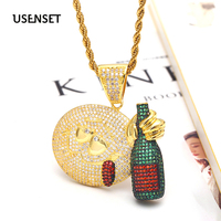 Pendant Necklace Jewelry Rope Chain Hip Hop Cartoon Emoji Iced Out Cubic Zircon Bling Cartoon Emoji Drunk Accessories Y1021