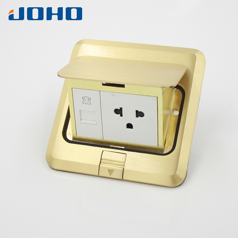 JOHO Brass Panel 3 Hole Fast Pop Up Floor Socket Outlet Box with Residential/General-Purpose 15A US Socket and RJ11 Data brass slow pop up floor socket box with 15a 125v us socket rj45 computer data