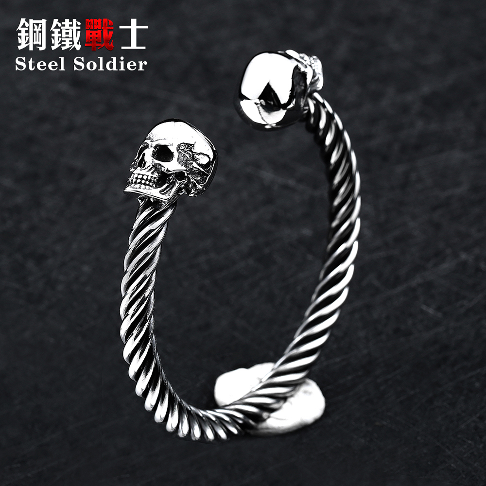 steel soldier men high quality double skull bangle stainless steel men jewelry