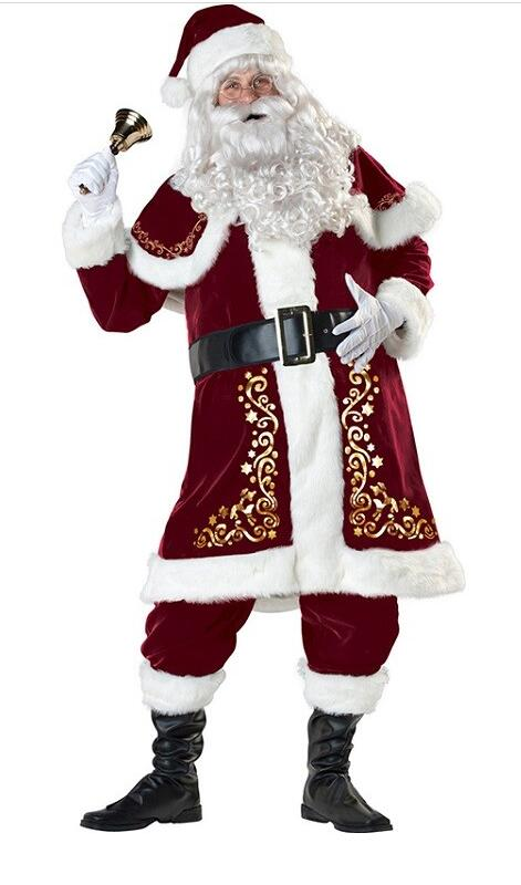 A Full Set Of Christmas Costumes Santa Claus For Adults Red Christmas Clothes Santa Claus Costume Luxury Suit a christmas carol and other christmas writings