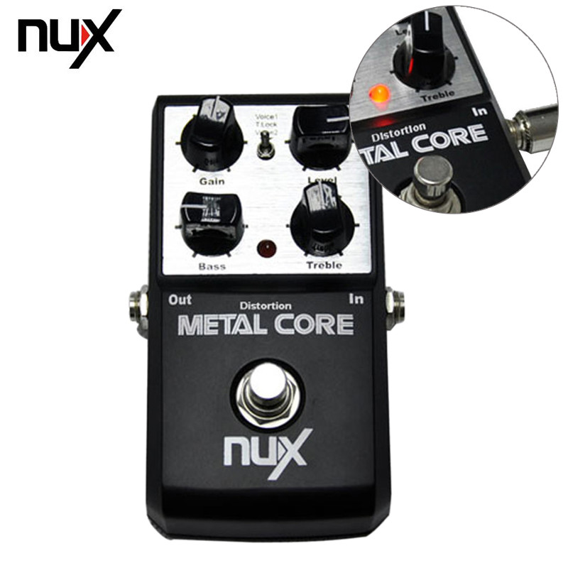 NUX Metal Core Distortion Effect Pedal True Bypass Guitar Effects Built-in 2-Band EQ Tone Lock Preset Function Guitar Parts aeb 3 bass eq analog 5 band equalizer guitar effect pedal aroma mini single pedal effects with true bypass guitar accessories