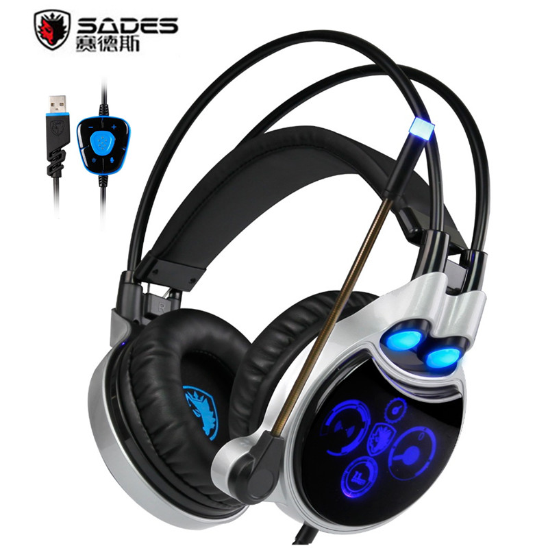 Sades R8 Computer Gaming Headset USB Virtual 7.1 Surround Sound PC Gamer Headphone With Microphones Led Lights For Games Laptop sades r1 usb 7 1 surround stereo sound vibration gaming headphone with microphone led light pc gamer gaming headset for computer