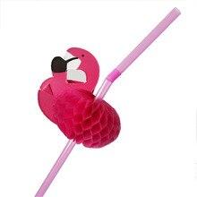 50pcs/Set Cute 3D Flamingo Straw Plastic Paper Disposable Drinking Straws Wedding Kids Birthday Pool Party Decoration Supplies