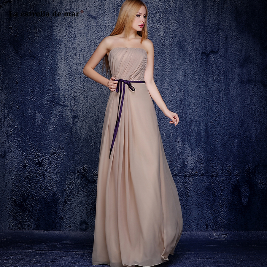 La estrella de mar vestido de festa longo 2019 new chiffon strapless Backless A Line champagne   bridesmaid     dresses   long plus size