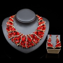 2017 Fashion Vintage nigerian crystal African beads necklace and drop earrings jewelry set for wedding or party free shipping