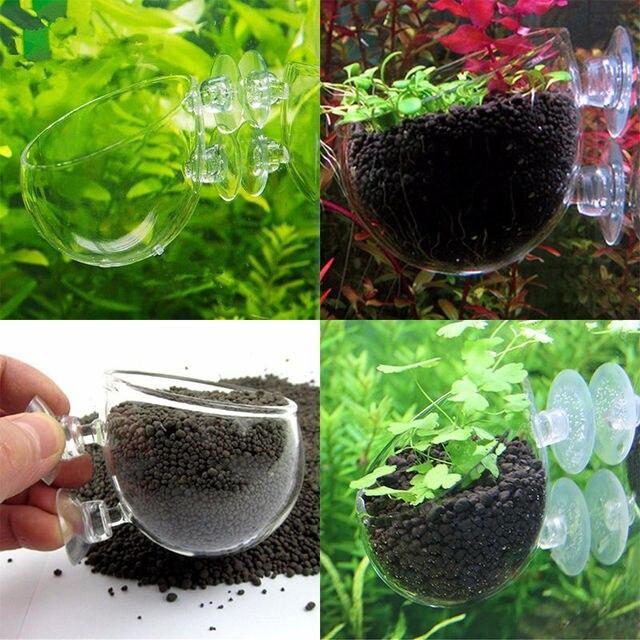New Aquatic Plant Flower Glass Cup Pot For Aquarium Aquascaping Fish Tank  Holder For Fish Pet