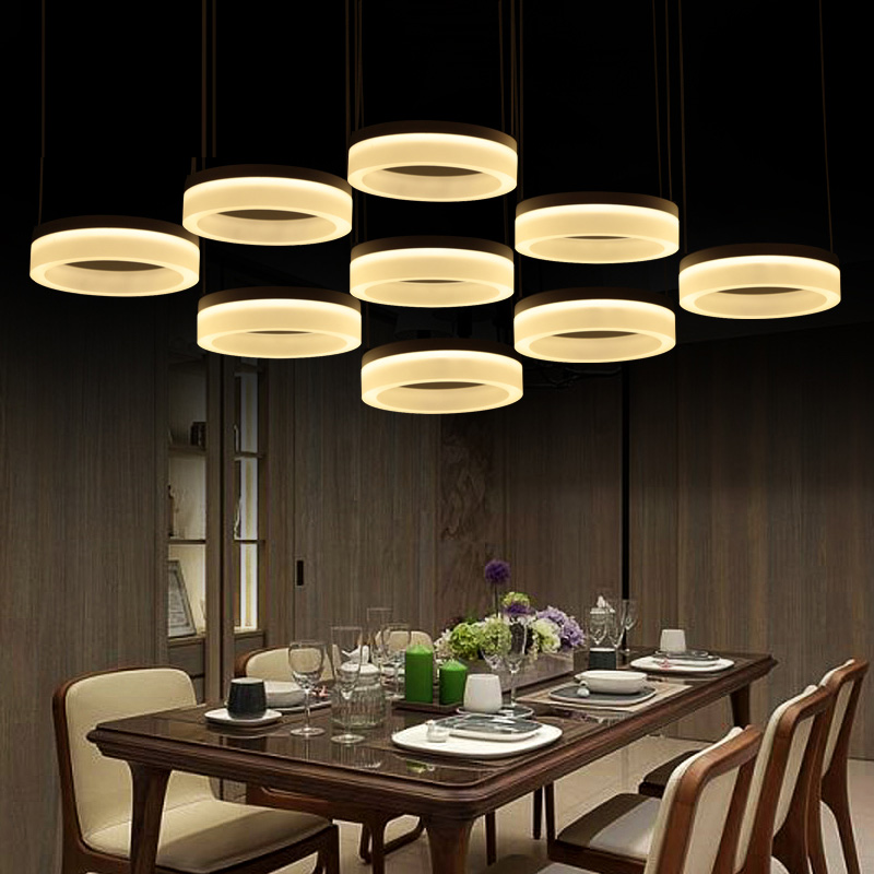 Home office Led Ring pendant lights Post modern Large led commercial lighting living room reading work light 110-240V lamparas modern office light pendant lights simple led office long strip aluminum rectangular commercial lighting market ultra thin lamps