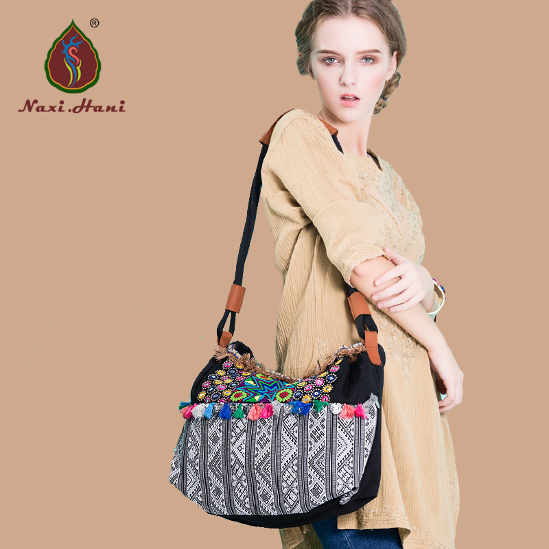 Newest Thailand cross-stitch pattern Colours canvas bags Folk embroidery handmade tassel messenger Shoulder bags бумажник thailand brand