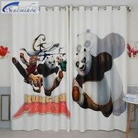 Senisaihon 3D плотные Шторы серый мультфильм Кунг-фу Панда» утолщенной Ткань детей Спальня Шторы для Гостиная