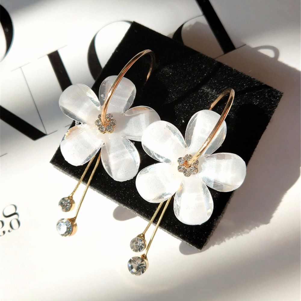 Korean Petal Acrylic Zircon Tassel Earrings Wholesale Women Earrings Korean Fashion Jewelry for Ladies Tassle Earrings 2018