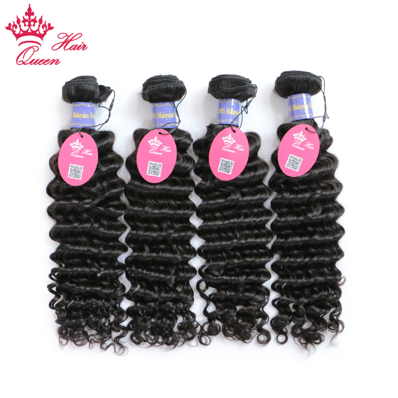 Queen Hair Company 100% Human Hair 4 Bundles Malaysian Deep Wave Natural Color 10-30 inch Weave Remy Hair Free Shipping