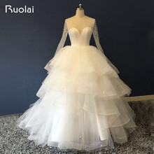 New Arrival Beautiful Tiered Ball Gown Wedding Dresses Scoop Long Sleeves Small Flowers Beaded Bridal Gown Wedding Party ASAW30