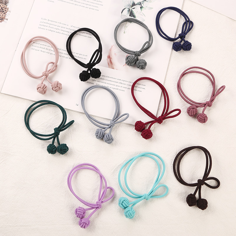 New Handmade Double Knotted Korean Color Elastic Rubber Bands   Headwear   Women Girl Ponytail Tie Gum Hair Rope Hair Accessories