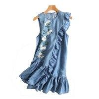 Ethnic Floral Embroidery Denim Dresses Women Sleeveless Ruffle Elegant Casual Shirt Dress Summer 2017 Vestido Jeans