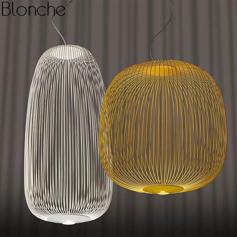 Foscarini spokes 1/2 luzes pingente moderno led pendurado lâmpada loft industrial gaiola de pássaro luminárias suspensão sala jantar decoração da sua casa