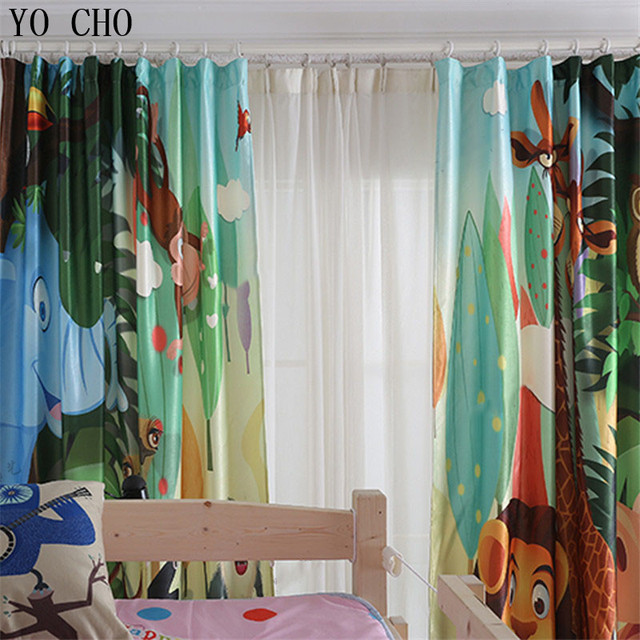 YO CHO Hot Lovely Lion Tiger Deer Bear 3d Blackout Curtain For Living Room Ready Made