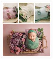 Newborn photography props baby pillow + headwear set flowers headwear & pillows photo shooting baby posing accessories