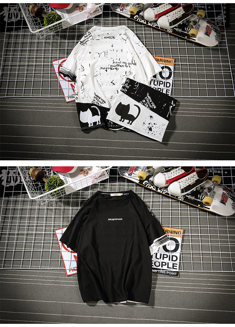 2019 New Korean Version Of The Tide Male Harajuku Quality Street Men Loose Animal Graffiti Large Size Casual Cute Shirt-in T-Shirts from Men's Clothing on Aliexpress.com | Alibaba Group 7