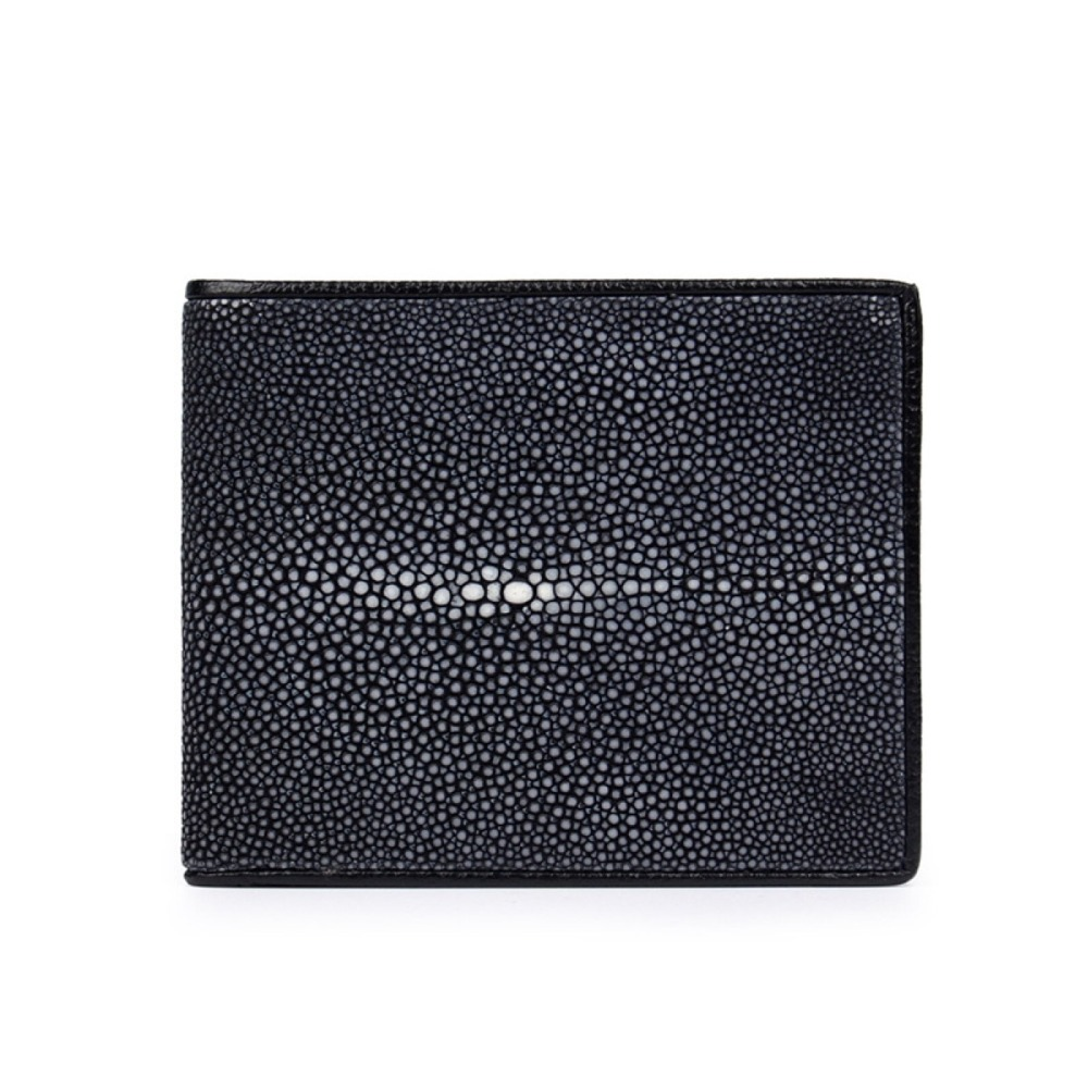 Classical Designer Genuine Skate Skin Pearl Fish Leather Men s Black Short Thin Purse Clutch Wallet