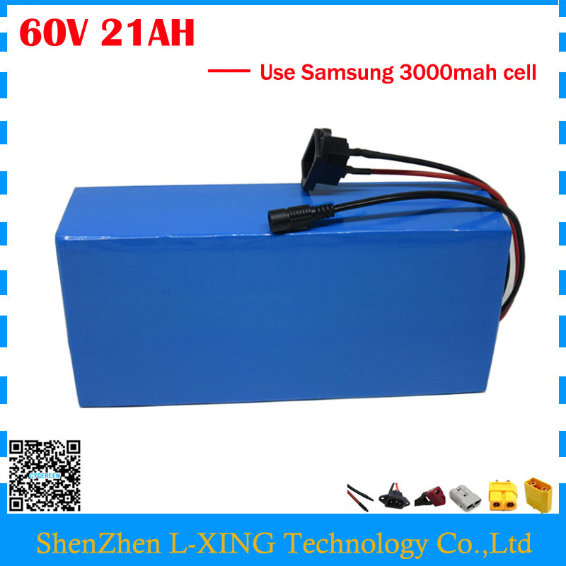 Free customs duty 1800W 60V 21AH Lithium battery 60V 21AH electric bike battery use Samsung 3000mah cell 30A BMS