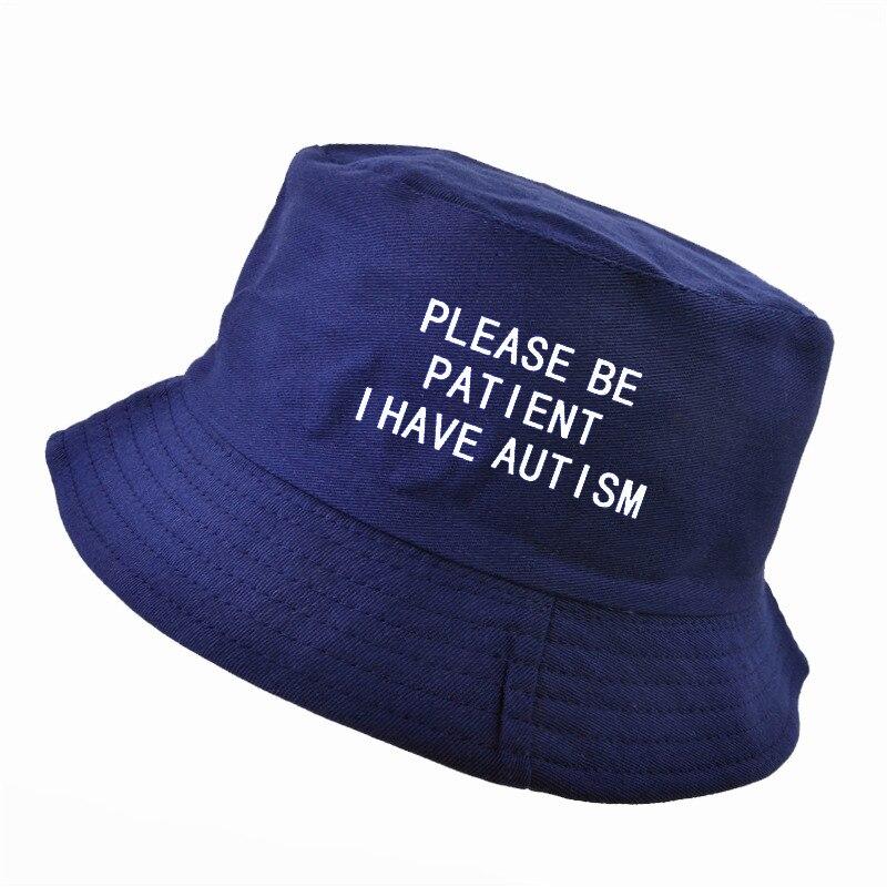 34df806a075 Please Be Patient I Have Autism letter Print bucket hat men women ...