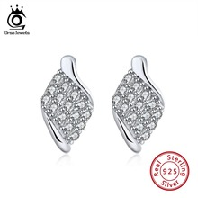 ORSA JEWELS 925 Sterling Silver Vintage Earrings For Women With AAA Cubic Zirconia Silver Stud Earring Trendy Jewelry OSE113 стоимость