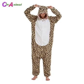 Mono de fiesta de disfraces de Halloween y Carnaval para adultos, pijama de Animal de dibujos animados Kigurumi de oso de leopardo para mujeres y hombres