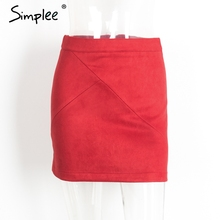 Simplee vintage leather suede pencil skirt