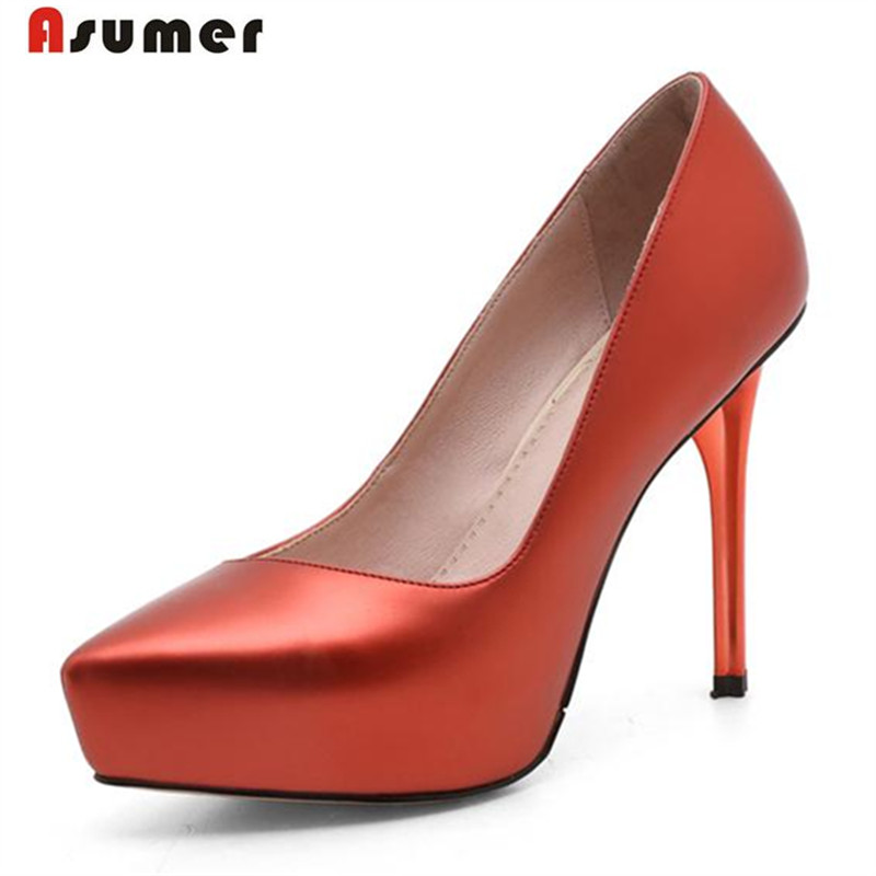Asumer Soft leather shoes women pumps pointed toe shallow office lady work shoes pu thin high heels shoes elegant dress asumer 2017 new high quality flock women pumps pointed toe high heels 8cm office lady dress shoes woman black wine red