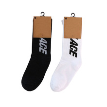Black and white letters simple style Fashion hip hop Crew Men's Socks Happy Funn