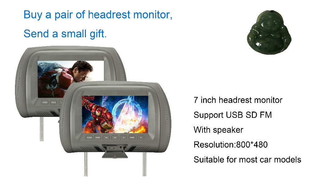 Factory direct sales New product 7 inch monitor 7 inch car Headrest TFT-LED monitor Headrest LED  color monitor AV USB SD MP5 FM 10 inch hdmi monitors hd digital lcd screen car headrest monitor car audio playerfm car headrest dvd player with gaming system