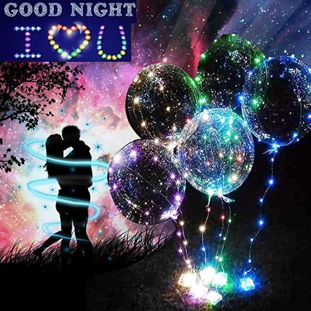 20Pcs Luminous Led Balloon Clear Bubble Balloon With Hand Shank LED Light Wedding Decor Birthday Party Supplies 20inch Balloons