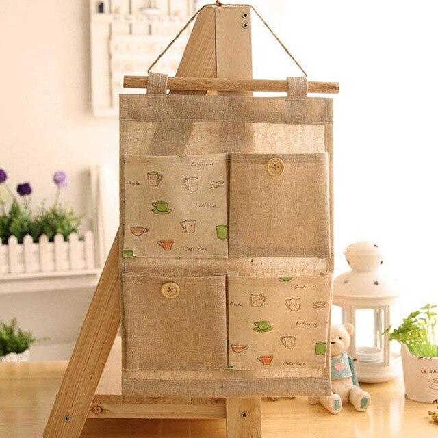 1 Pc Wholesale Retail Linen Cotton Storage Bag hanging closet