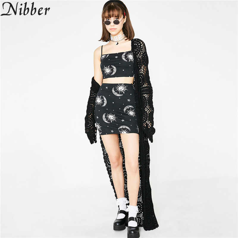 Nibber women's Sun moon print wild Elastic tank tops skirt 2 pieces sets 2019 spring new Leisure vacation camisole skirts suits