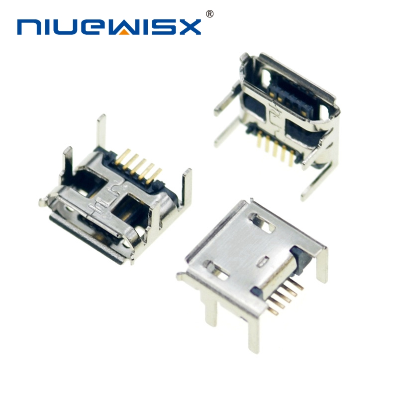 10Pc Micro USB Type B 5pin Female Socket 4 Vertical Legs Soldering Connectors