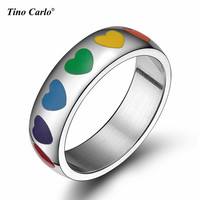 Rainbow Heart Enamel Ring Polishing 6MM Width Stainless Steel Gay Pride Parade Rings Lesbian LGBT Rings SIZE 5~12 PR-1005