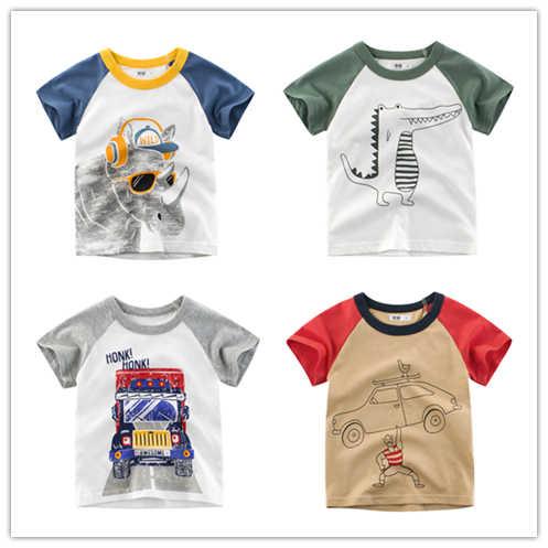 Del Bambino di modo Del Ragazzo Del Fumetto di Stampa T-Shirt Bambini Del Fumetto Del Manicotto Del Bicchierino Magliette E Camicette Delle Ragazze Auto Magliette Vestiti di Cotone Del Bambino Lettera abbigliamento per bambini