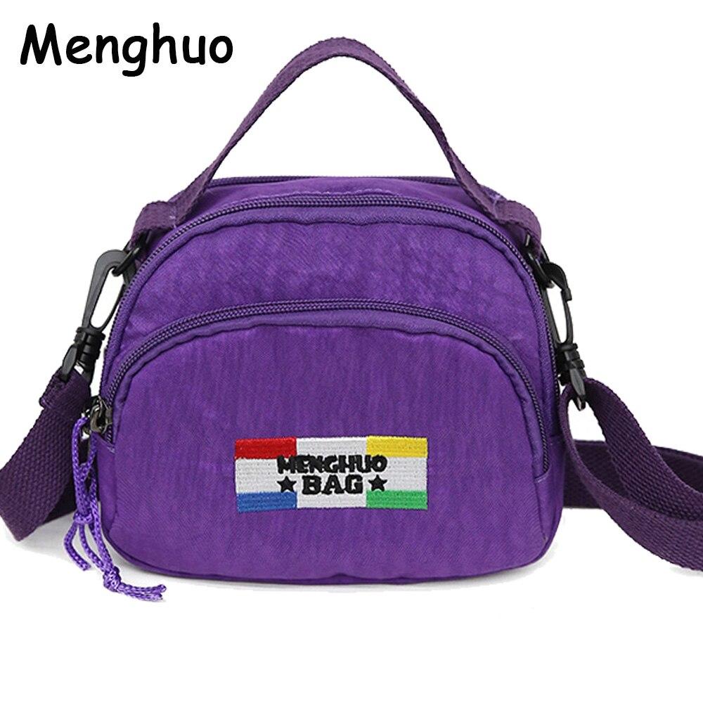 MENGHUO Small Shoulder Bags Female Solid Zipper Luxury Women Designer Flap Mini Nylon Summer Beach Crossbody Bag Sac A Main 2018