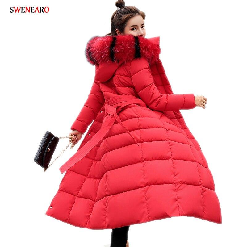 Nouveau 2018 hiver manteau Design élégant rembourré femmes mode coton x-long chaud Parka Slim veste à capuche Zipper vêtements d'extérieur pour femmes