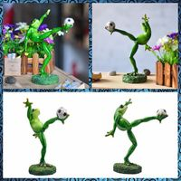Free Shipping Football Player Frog Funny Family Figures Resin Toys Cake Home Office Desk Car Decoration