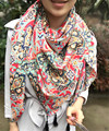 Free Shipping Latest New Style Pashmina Oversize Summer Beach Shawl Cotton Blend Print Flower Stole with Tassel Ethnic Scarves