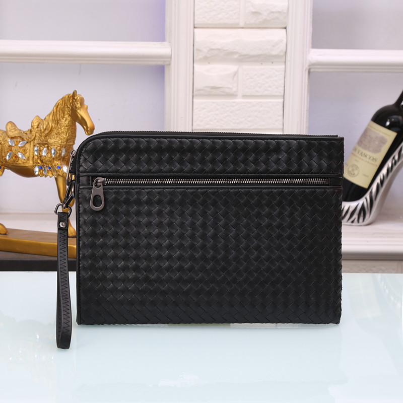 Kaisiludi Leather Woven Men's And Women's Bags With Large Volume Leisure Documents In Hand Grab Bag Fashion Envelope Bag