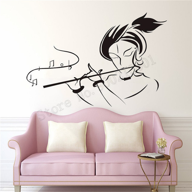 3a87f49800 Modern Wall Sticker Lord Krishna Room Decoration Vinyl Diy Design Home Decor  Removeable Poster Mural Decals Stickers LY820