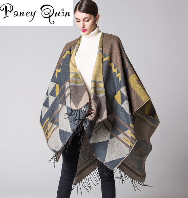 tassel lengthened thickened cashmere winter shawls Oversized ...