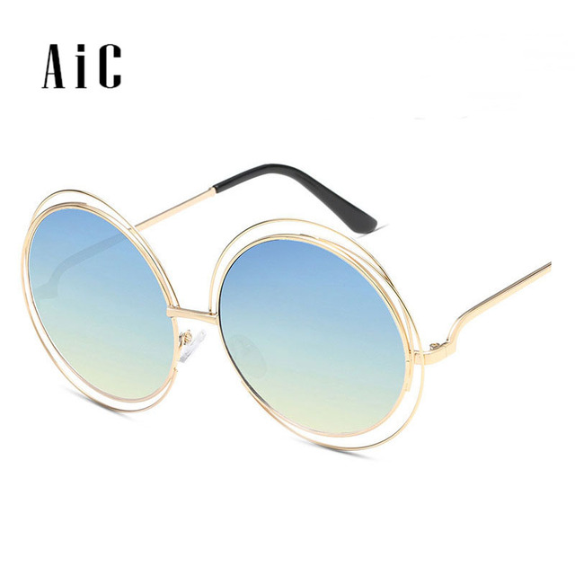 fbb6b3fdc2b Oversized Round Transparent Sunglasses Women Vintage Hollow Brand Designer  Metal Frame Retro Eye Wear Big Large