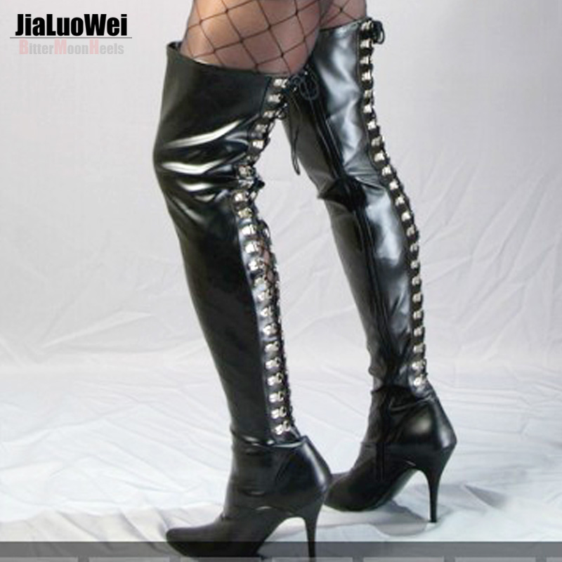 ФОТО Jialuowei Extreme High Heels 12cm Stretch D-Ring Lace Up Fetish thigh high long boots Pointed Toe Unisex Dance party Boots