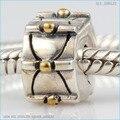 Fit Pandora Браслеты позолоченные точки позиционирования клип бусы Подлинная стерлингового серебра 925 бесплатная доставка
