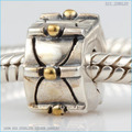 Fit Pandora Bracelets gold-plated point positioning clip beads Genuine 925 sterling silver free shipping