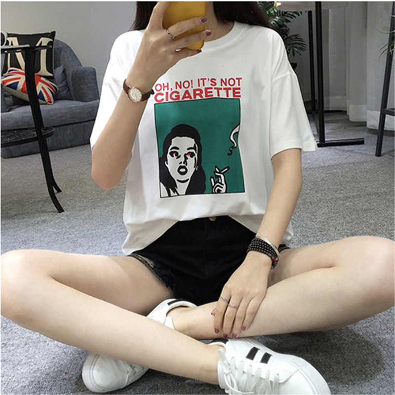 2019 Summer Women 39 s T shirts New Harajuku Personality Printed Short sleeved Students Top Loose Slim White T shirt Female S XL in T Shirts from Women 39 s Clothing